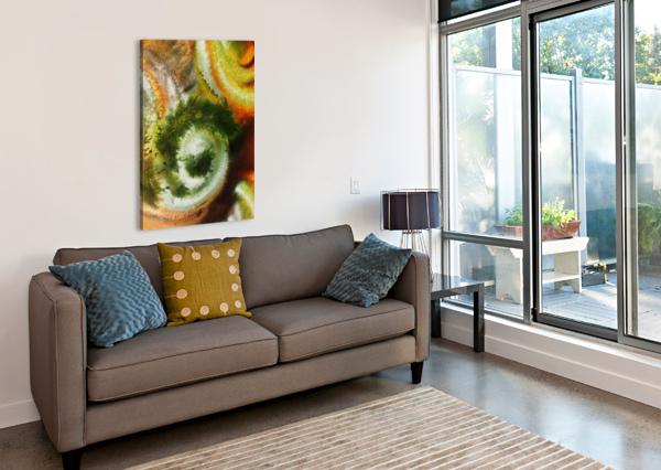 FALL VORTEX OF GREEN YELLOW ORANGE AND BROWN ABSTRACT WATERCOLOR  IRINA SZTUKOWSKI  Canvas Print