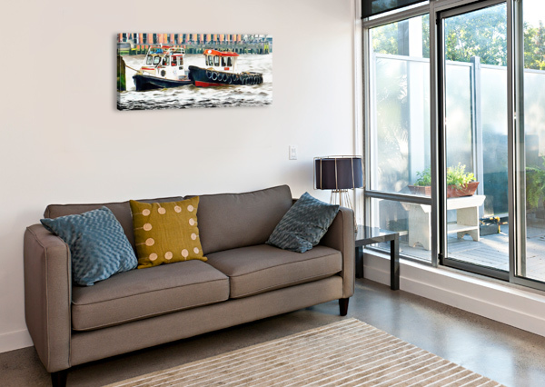 TWO BOATS TIED UP ON THE RIVER THAMES LONDON DOROTHY BERRY-LOUND  Canvas Print