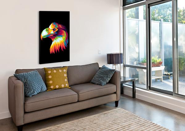 BIRD OF PREY IN COLORFUL POP ART ILLUSTRATION WPAPRINT  Canvas Print