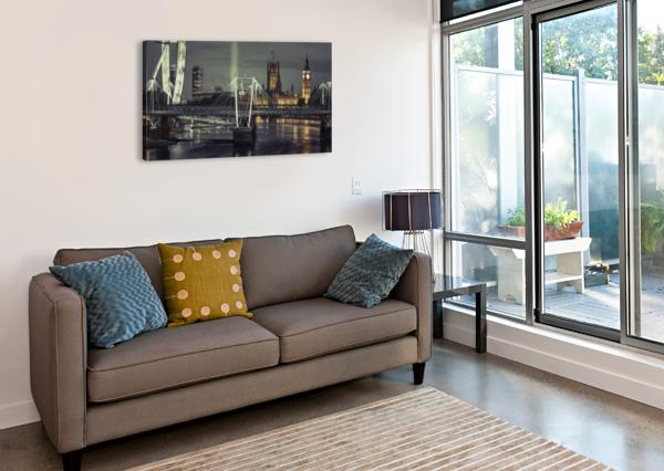 NIGHT VIEW OF THE LONDON EYE, GOLDEN JUBILEE BRIDGE AND WESTMINSTER, LONDON, UK ASSAF FRANK  Canvas Print