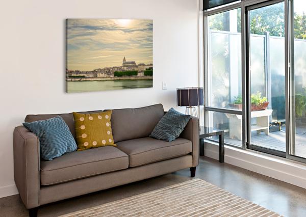 CATHEDRALE SAINT LOUIS ACROSS THE LOIRE - SUNSET FRANCE 24  Canvas Print