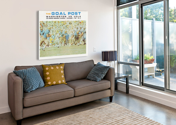 1969 UCLA VS. WASHINGTON FOOTBALL PROGRAM COVER ART ROW ONE BRAND  Canvas Print