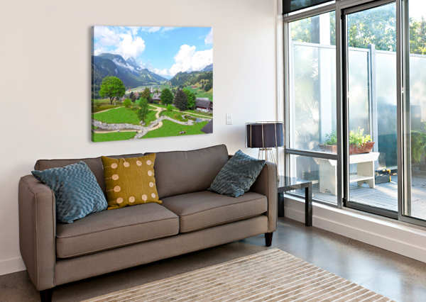 THE  SAANE VALLEY IN SWITZERLAND SURROUNDED BY THE ALPS 1NORTH  Canvas Print