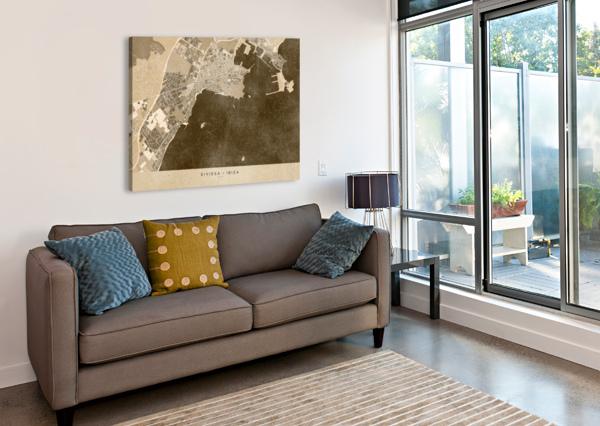 SEPIA VINTAGE MAP OF IBIZA SPAIN BLURSBYAI  Canvas Print