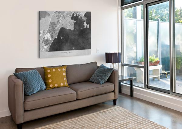 GRAY VINTAGE MAP OF IBIZA SPAIN BLURSBYAI  Canvas Print