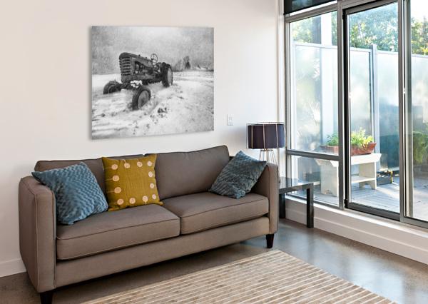WINTER SNOW  MOUNTAIN FARM AND OLD TRACTOR BOB ORSILLO  Canvas Print