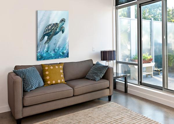 WATERCOLOR GIANT TURTLE IN ABSTRACT SEAWEED AND WATER XI IRINA SZTUKOWSKI  Canvas Print