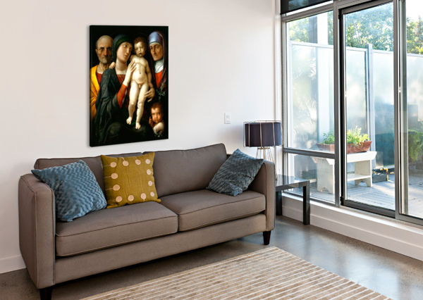 HOLY FAMILY WITH SAINTS ELIZABETH AND JOHN THE BAPTIST ANDREA MANTEGNA  Canvas Print