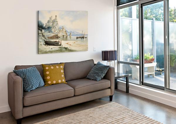 SICILIAN COASTAL LANDSCAPE CARL WERNER  Canvas Print
