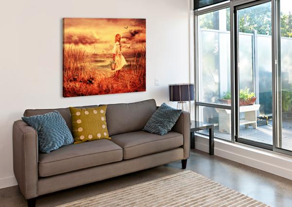 GIRL AT THE OCEAN VINTAGE STYLE IRINA SZTUKOWSKI  Canvas Print