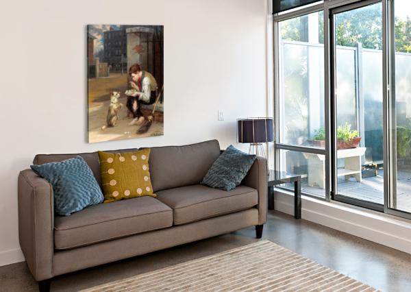 TRAINING A SMALL DOG AUGUSTUS EDWIN MULREADY  Impression sur toile