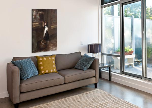 A GIRL IN A BLACK DRESS AUGUSTUS EDWIN MULREADY  Impression sur toile