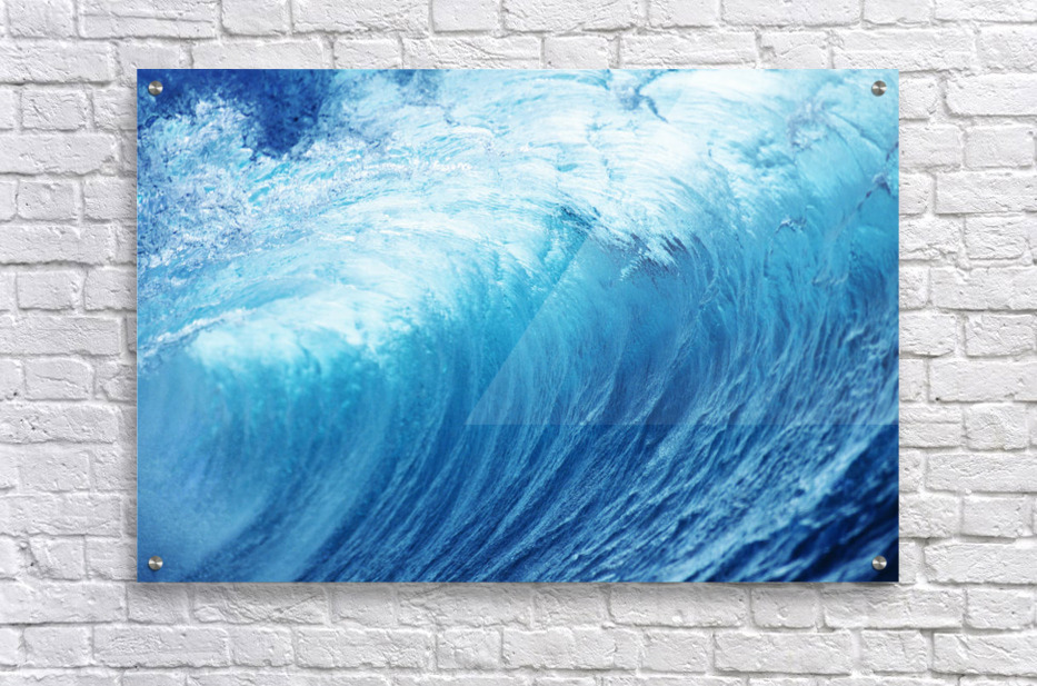 Inside Glassy, Blue Wave Curling Over, Closeup  Acrylic Print