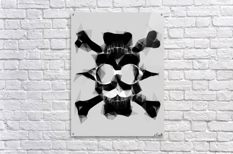 psychedelic skull art geometric triangle pattern abstract in black and white  Acrylic Print