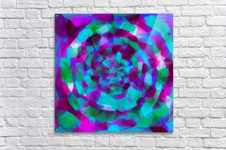 psychedelic geometric polygon pattern abstract in pink purple blue  Acrylic Print