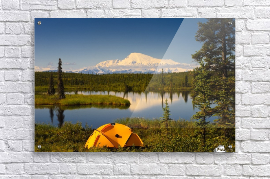 Tent Camping In Wrangell Saint Elias National Park With Mount Sanford In The Background, Southcentral Alaska, Summer  Acrylic Print