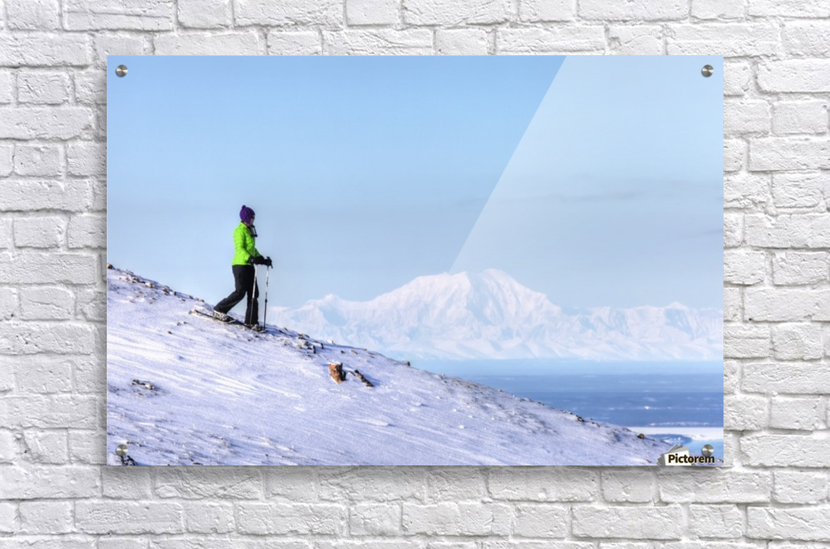 Woman snowshoeing on Blueberry Hill at the Glen Alps area of Chugach State Park with Mt. Foraker in the background, Anchorage, Southcentral Alaska, Winter, HDR  Acrylic Print