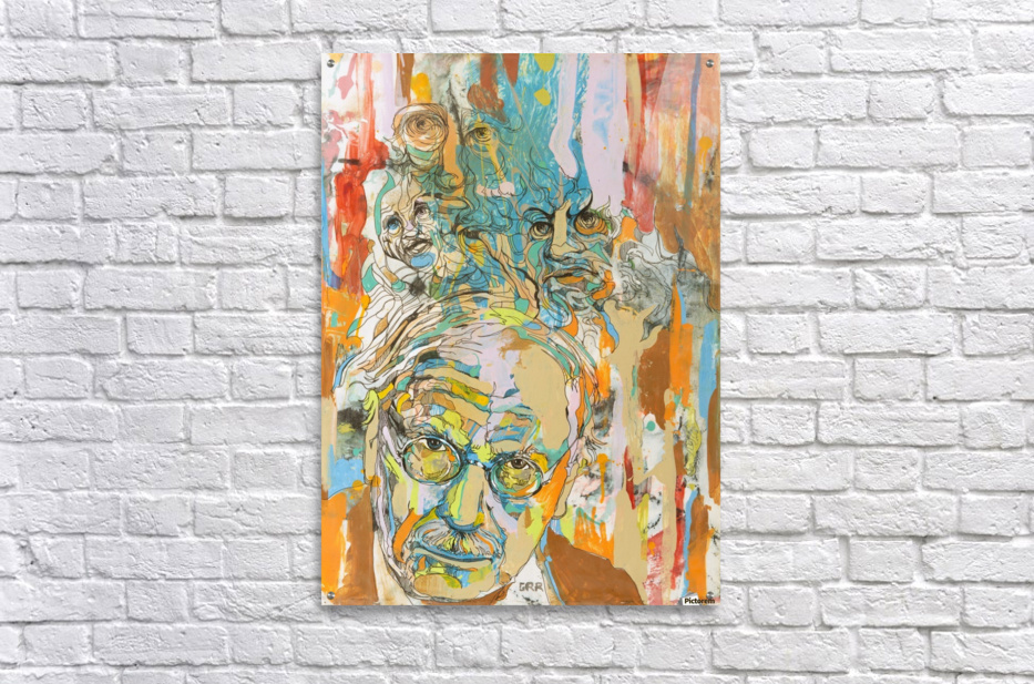 Illustration of a man with heads talking above his head  Impression acrylique