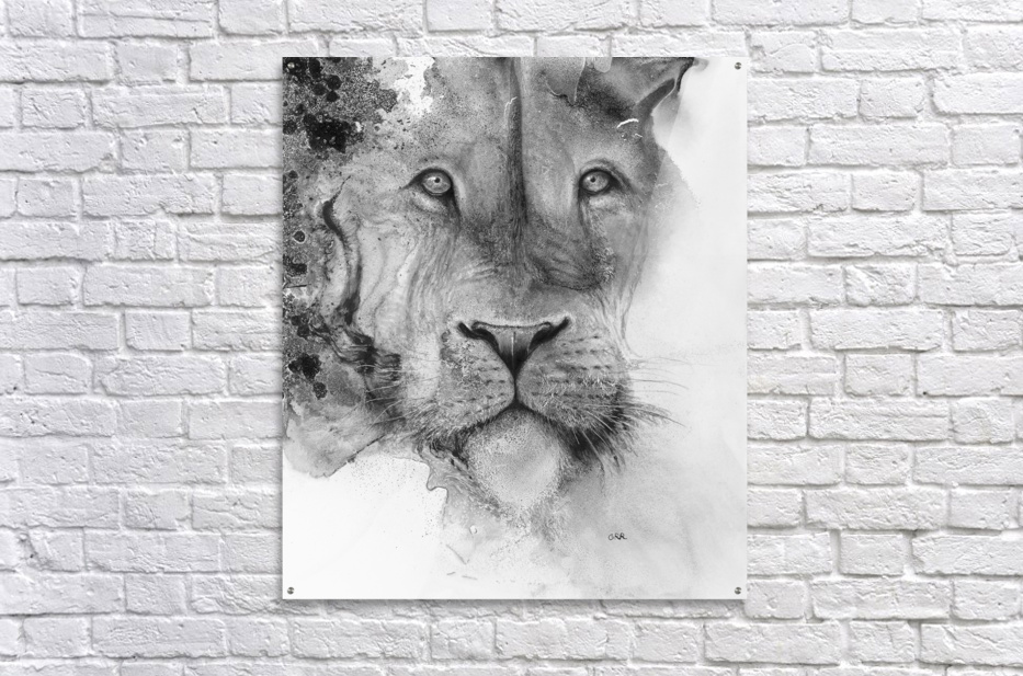 Illustration of a lion's face and a mottled background  Impression acrylique