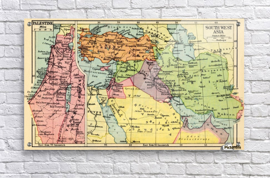 A 1930\'s map of Palestine, left and south west Asia, right. - PacificStock  - Canvas Artwork