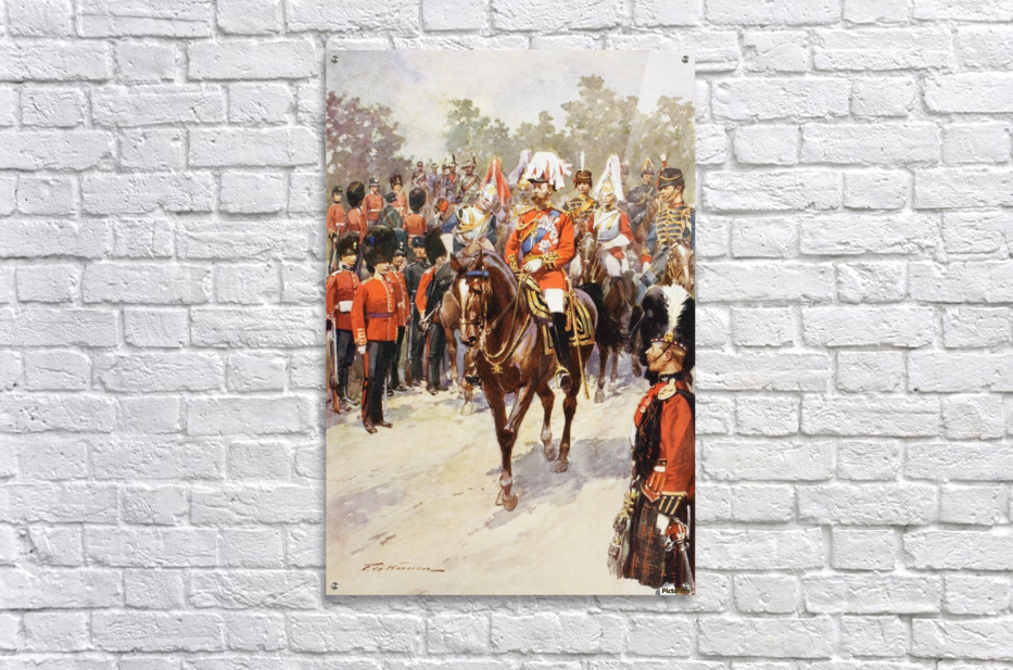 George V, as Field Marshal and British Regiments of which he was colonel.  George Frederick Ernest Albert, 1865 to 1936.  After the painting by Frederic de Haenen from The Illustrated London News, 1910.  Acrylic Print