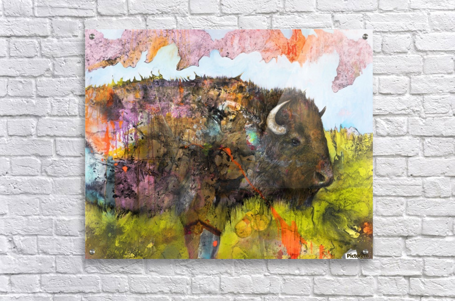 Illustration of a buffalo with colourful splashes and landscape  Acrylic Print