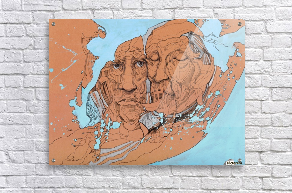 Illustration of two male faces and an abstract blue and brown background  Acrylic Print