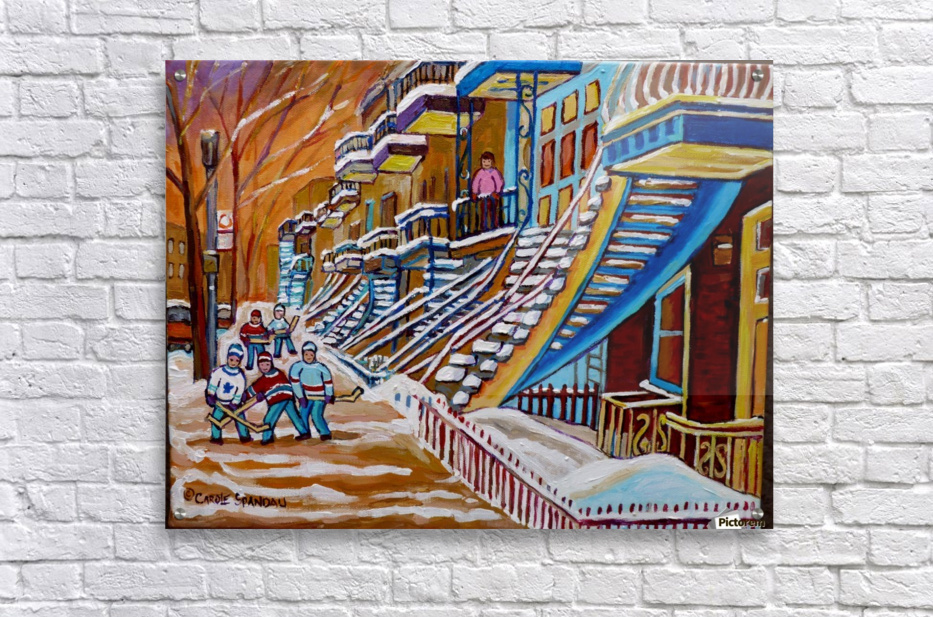 MONTREAL WINTER SCENE HOCKEY GAME NEAR THE BLUE STAIRCASE  Acrylic Print