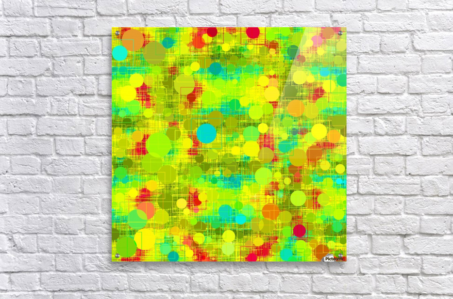 psychedelic geometric circle and square pattern abstract in yellow green blue red  Acrylic Print