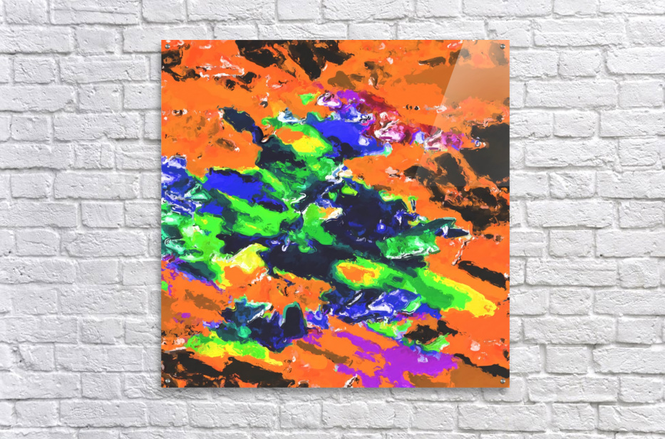 psychedelic splash painting abstract texture in brown green blue yellow pink  Acrylic Print