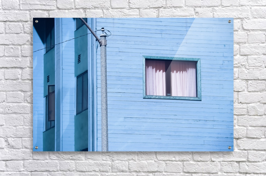 vintage blue wood building with window and electric pole  Acrylic Print