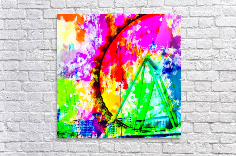 ferris wheel in the city at Las Vegas, USA with colorful painting abstract background  Acrylic Print