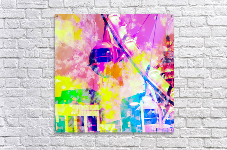 Ferris wheel and modern building at Las Vegas, USA with colorful painting abstract background  Acrylic Print