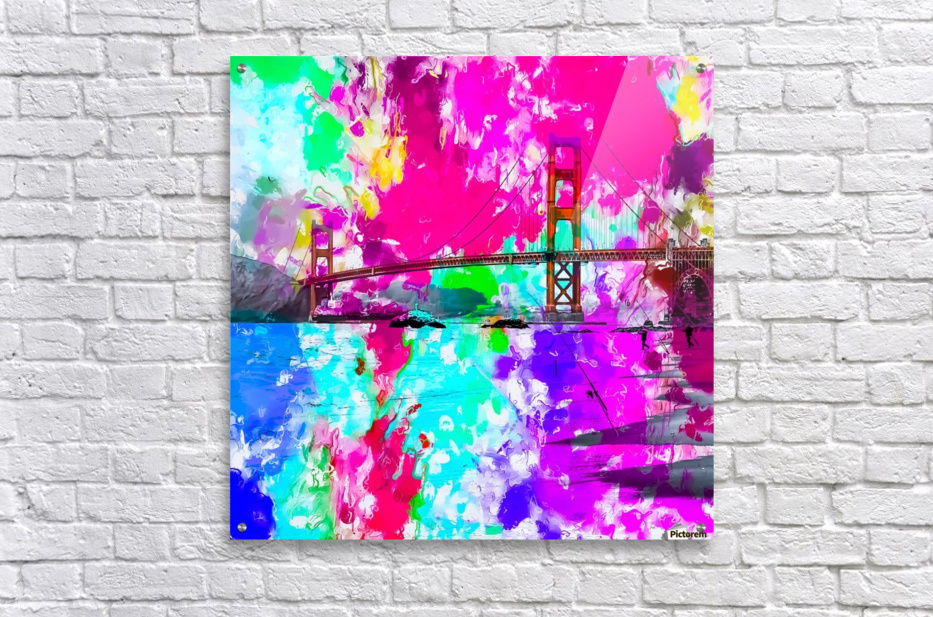 Golden Gate bridge, San Francisco, USA with pink blue green purple painting abstract background  Acrylic Print