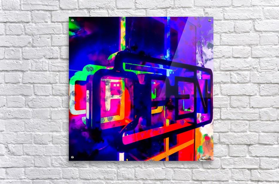 OPEN neon sign with pink purple red and blue painting abstract background  Acrylic Print