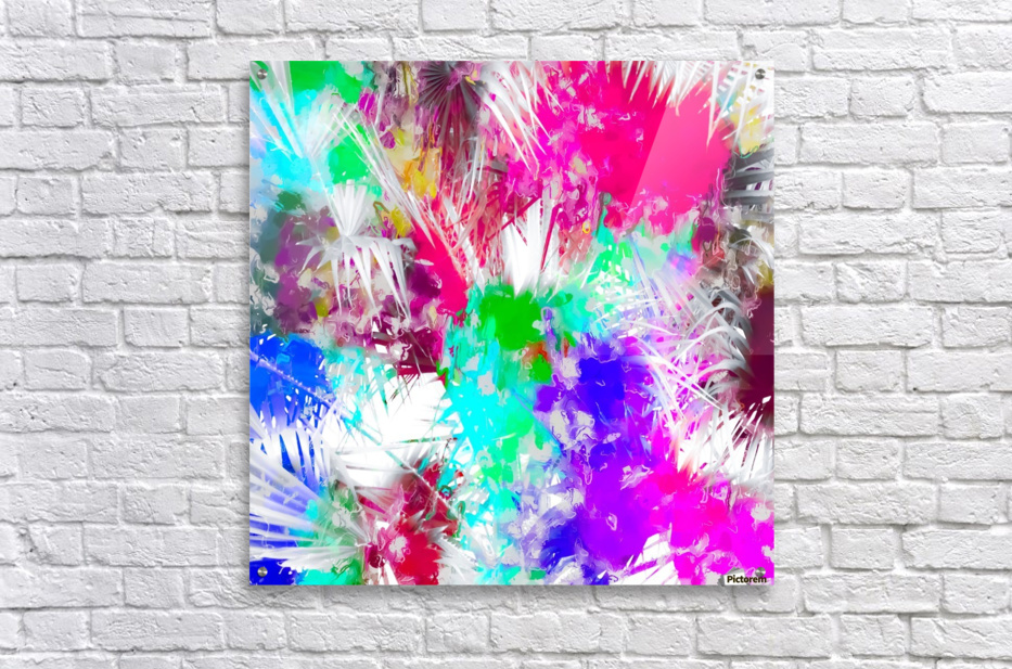 palm leaf with colorful painting abstract background in pink blue green purple  Acrylic Print