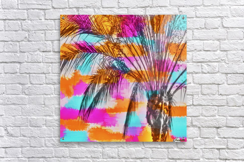 palm tree with colorful painting abstract background in pink orange blue  Acrylic Print