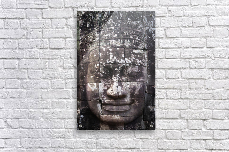 A face sculpture on a stone wall at angkor wat;Cambodia  Acrylic Print