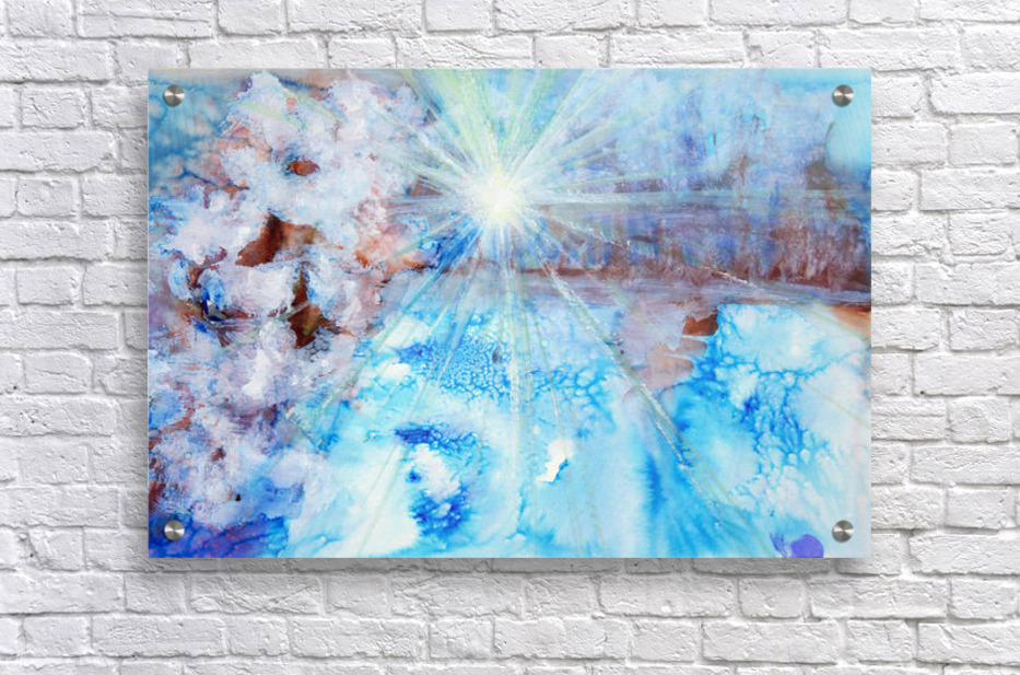 Abstract watercolour painting with a starburst  Acrylic Print