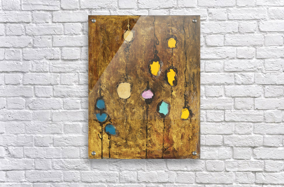 Abstract artwork of colourful circles on a brown grainy background  Acrylic Print