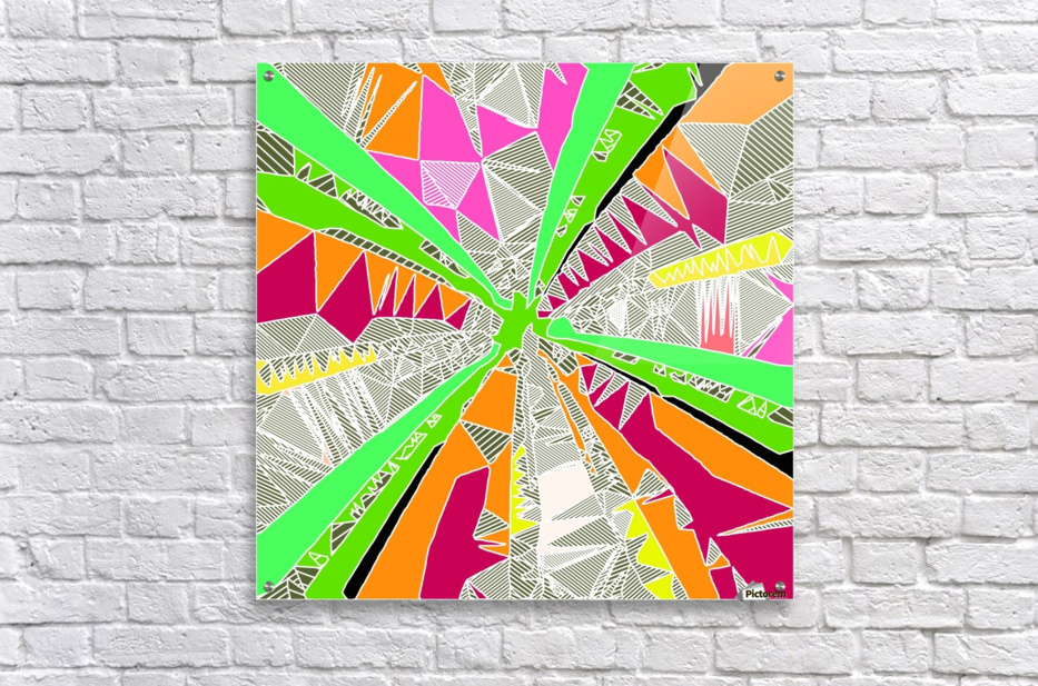 psychedelic geometric pattern drawing abstract background in green orange red pink  Acrylic Print