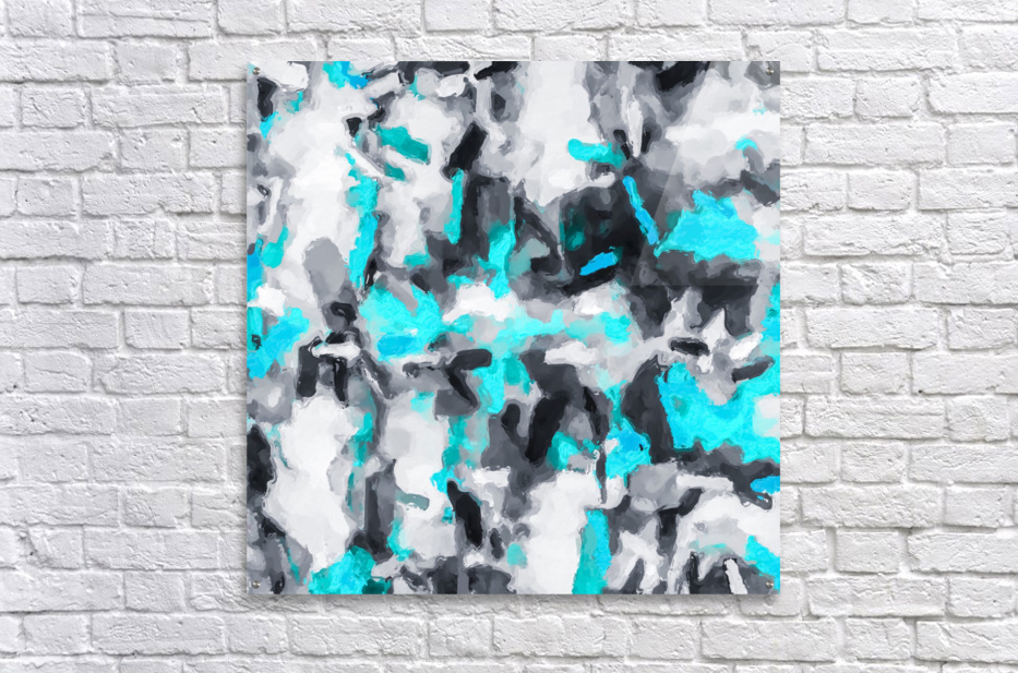 splash painting texture abstract background in blue and black  Acrylic Print