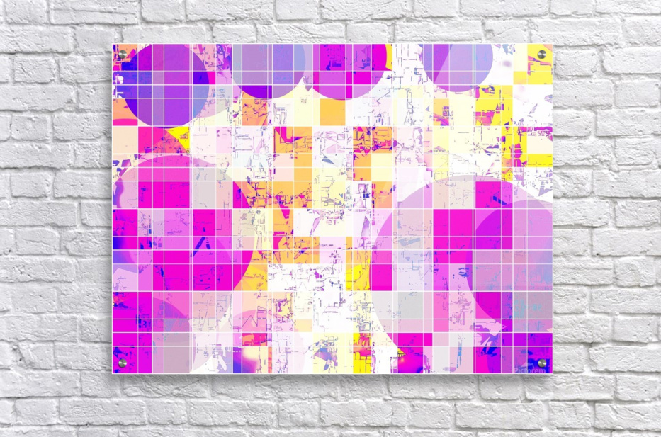 geometric square and circle pattern abstract in pink purple yellow  Acrylic Print