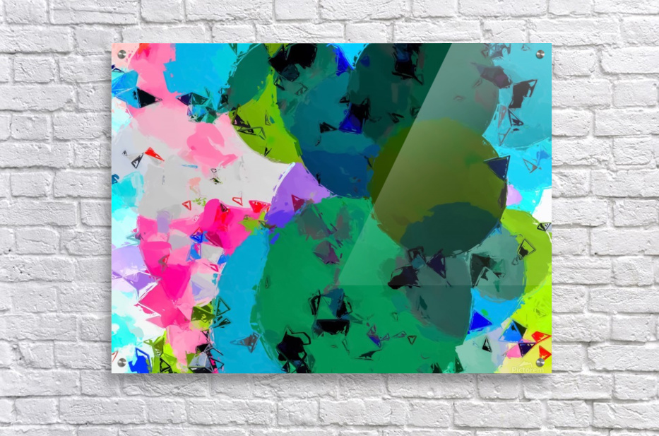 geometric circle pattern abstract in green blue pink  Acrylic Print