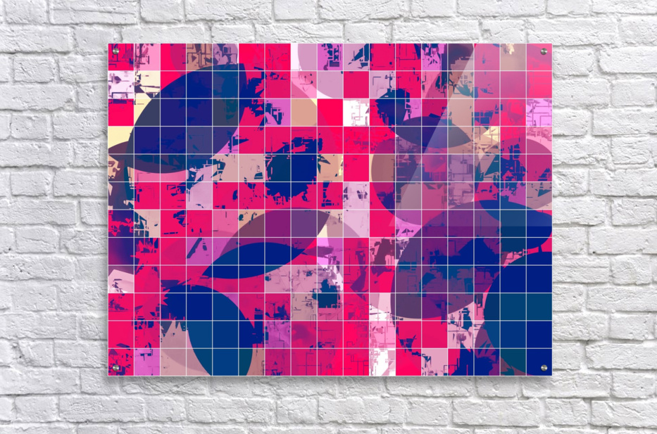 geometric square and circle pattern abstract background in red pink blue  Acrylic Print