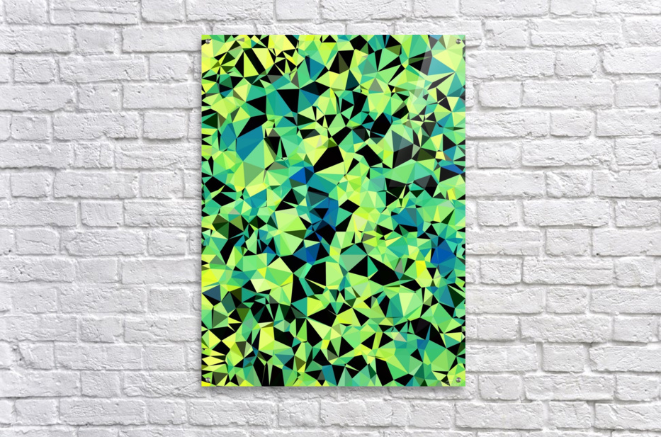 geometric triangle pattern abstract in green blue black  Acrylic Print
