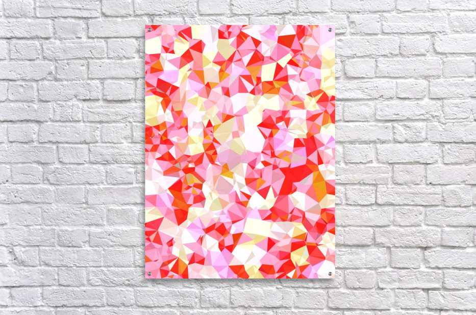 geometric triangle pattern abstract in pink red orange  Acrylic Print