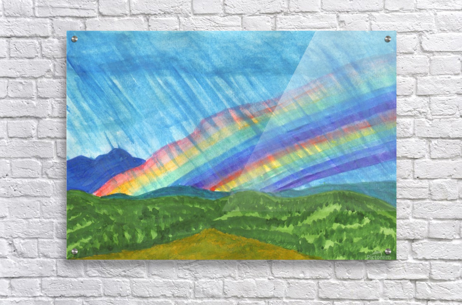 Double rainbow and rain in the mountains  Acrylic Print