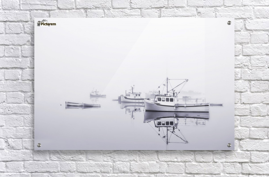 New Brunswick  Boats in the Mist  Acrylic Print