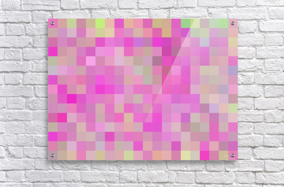 geometric square pixel pattern abstract background in pink blue green  Acrylic Print